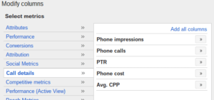 adwords columns for call only campaigns